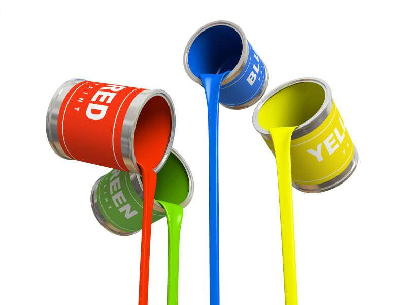 Royalty-Free Stock Photo: Four banks of multicolored paint.